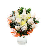 Bouquet of white roses in vase. Decorations Stock Images