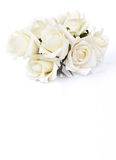 Bouquet of white roses on a white background stock images