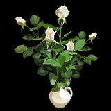 Bouquet of white roses in a white vase. On a black background Stock Photos
