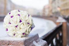 Bouquet of white silk roses Royalty Free Stock Image