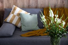 Homely comfort with a gray sofa and subdued light royalty free stock photo