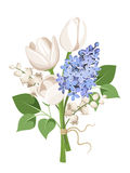 Bouquet of white tulips, blue lilac flowers and lily of the valley. Vector illustration. Stock Photo