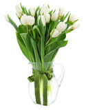 Bouquet of white  tulips in vase Stock Photos