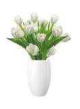 Bouquet of white tulips in vase isolated on white Stock Photo