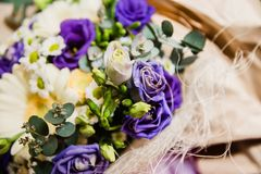 Bouquet of white and violet flowers royalty free stock photos