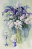 Bouquet of white and violet flowers watercolor. Handmade illiustration. Lilac, iris and candles still-life Royalty Free Stock Images
