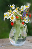 Bouquet of wild flowers and berries in a glass jug Stock Photography