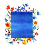 Bouquet from wild flowers with frame for text Stock Image