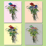 Bouquet of wild flowers greeting card with frame.  Royalty Free Stock Image