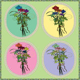 Bouquet of wild flowers greeting card with frame.  Royalty Free Stock Photography
