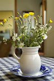 Bouquet of wild flowers in a  Pitcher. Bouquet of wild flowers in an old white Pitcher on a decorated blue bowl Stock Photography