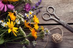 Bouquet of wild flowers scissors vintage board Royalty Free Stock Photos