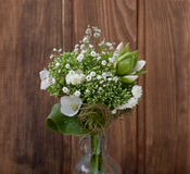 Bouquet of wild flowers in the style of Provence with nuts Royalty Free Stock Photography