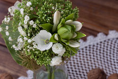 Bouquet of wild flowers in the style of Provence with nuts Royalty Free Stock Photo