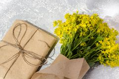 Bouquet of wild flowers in a vase stock photography