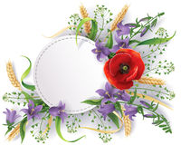 Bouquet of wild flowers. White round label decorated with bouquet of wild flowers, bluebells, ears and poppy Stock Photos