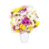 Bouquet of wild flowers in white vase Royalty Free Stock Photography