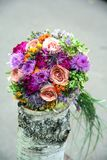 Bouquet with wild, garden and cultivated plants. Stock Photography