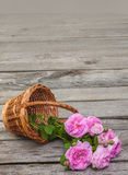 Bouquet of wild rose in vintage style on basket Royalty Free Stock Photos