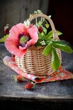 Bouquet of wild strawberries in a basket Stock Photography