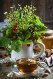 Bouquet of wild strawberry with herbal tea and honey Stock Images