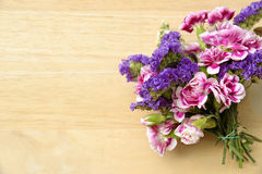 Bouquet of Wild Summer Flowers on Wooden Table Royalty Free Stock Photography