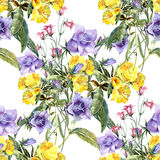 Bouquet of wildflowers , watercolor, pattern seamless Stock Photo