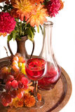 Bouquet and  wine Stock Images