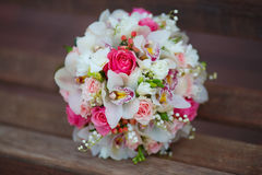 Bouquet on wooden background Royalty Free Stock Image