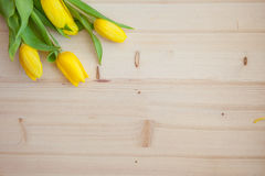 Bouquet on the Wooden Background. Tulips the Bouquet on the Wooden Background of the Board, the Spring yellow Blossoming Sheaf, Office on Wooden Structure Royalty Free Stock Image