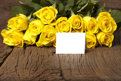Bouquet of yellow with a card Royalty Free Stock Image
