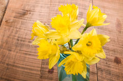 Bouquet of yellow daffodil flowers in a jar Stock Images
