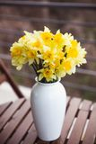 Bouquet of yellow daffodils in a white vase on a wooden table outdoor. Close-up royalty free stock photos