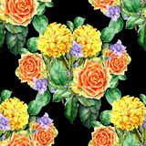 Bouquet yellow flower , watercolor, pattern seamless Stock Photography