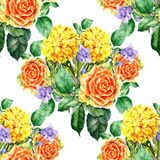 Bouquet yellow flower , watercolor, pattern seamless Royalty Free Stock Images