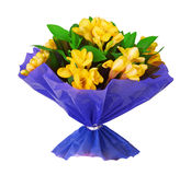 Bouquet of yellow fresia flower Royalty Free Stock Image