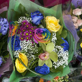 Bouquet of yellow fresia, hyacinth and colorful rose Stock Image