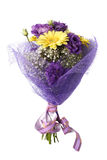 Bouquet of yellow gerbera and violet eustoma. Isolated on white background Stock Photography
