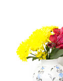A bouquet of yellow lilies and red alstroemeria Royalty Free Stock Photos