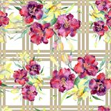 Bouquet of yellow and maroon lilies flower. Watercolor background illustration set. Seamless background pattern. Bouquet of yellow and maroon lilies flower royalty free illustration