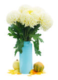 Bouquet of yellow mums in watering can Stock Photography