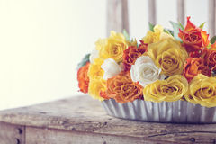 Bouquet of yellow and orange roses Stock Images