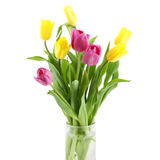 Bouquet of yellow and pink tulips Royalty Free Stock Photos
