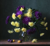 Bouquet. Yellow, purple, still life of asters and chrysanthemums Royalty Free Stock Photo