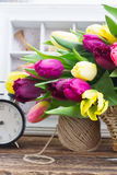 Bouquet of  yellow and purple  tulip flowers Royalty Free Stock Image