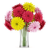 Bouquet of yellow red and pink flowers in vase  on white Stock Image
