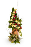Bouquet of yellow and red rose flowers. Isolated over white stock photos