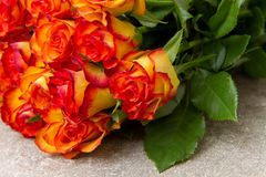 Bouquet of yellow and red roses Royalty Free Stock Images
