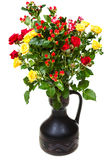 Bouquet of yellow, red roses and hypericum flowers Royalty Free Stock Photo