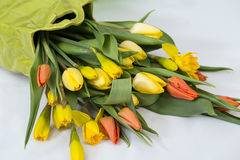 Bouquet of yellow and red tulips in a green vase Stock Photography